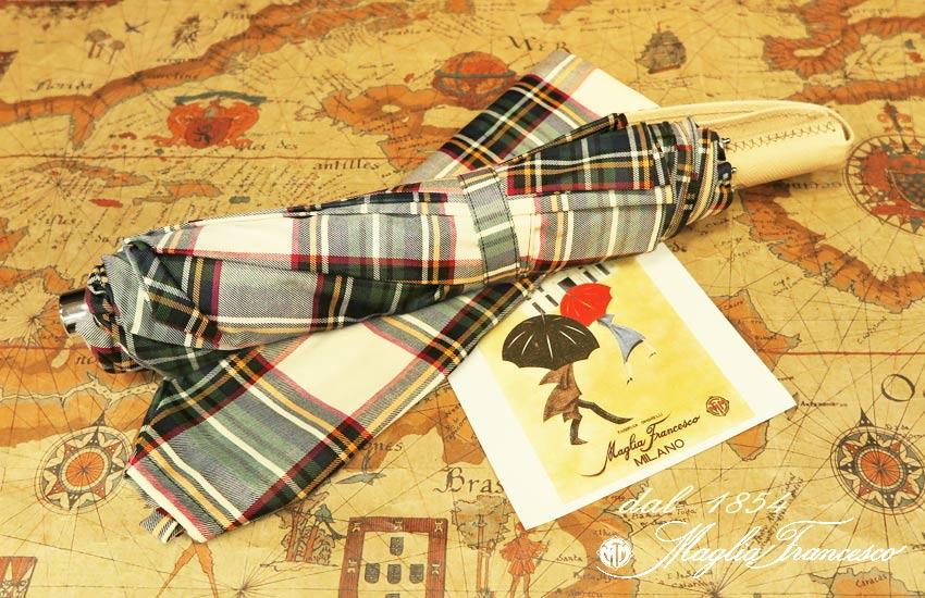 【 Maglia Francesco / マリアフランチェスコ 】 ( 折りたたみ傘 ) ( アイボリー系チェック ) maglia-040