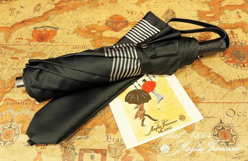 【 Maglia Francesco / マリアフランチェスコ 】 ( 折りたたみ傘 ) ( グレーボーダー ) maglia-044