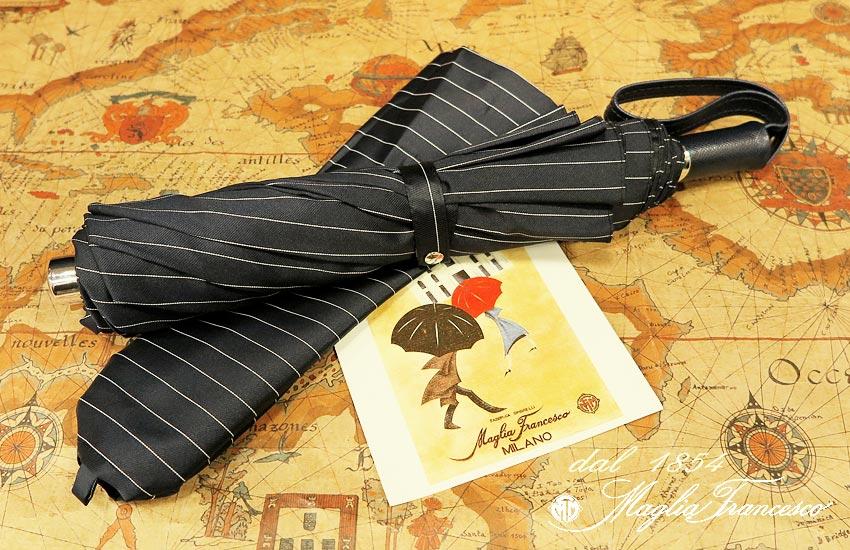 【 Maglia Francesco / マリアフランチェスコ 】 ( 折りたたみ傘 ) ( 濃紺×グレー系ストライプ ) maglia-047