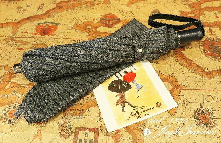 【 Maglia Francesco / マリアフランチェスコ 】 ( 折りたたみ傘 ) ( ネイビーストライプ ) maglia-049