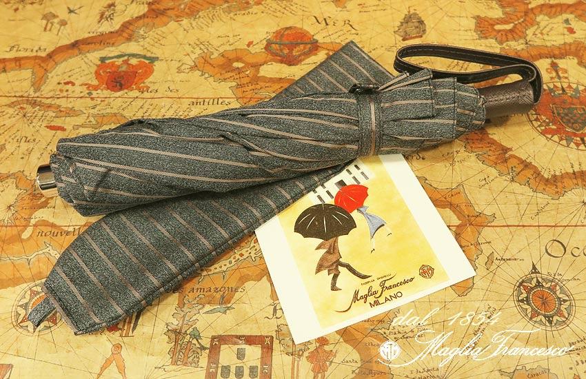 【 Maglia Francesco / マリアフランチェスコ 】 ( 折りたたみ傘 ) ( ブラウンストライプ ) maglia-050