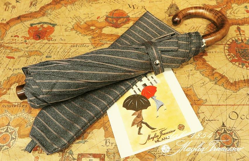 【 Maglia Francesco / マリアフランチェスコ 】 ( 折りたたみ傘 ) ( ブラウンストライプ ) maglia-056