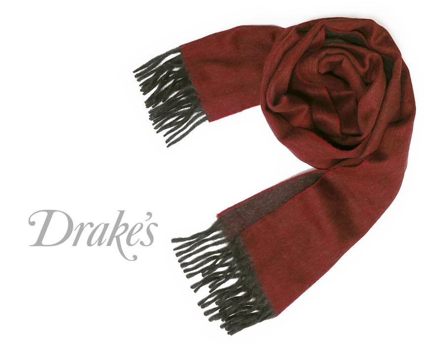DRAKE'S / ドレイクス マフラー ( ワイン系×チャコール ) 18751-007
