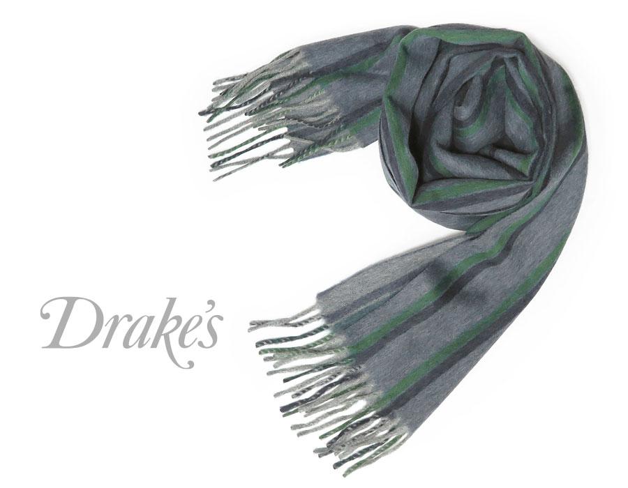 DRAKE'S/ ドレイクス 18754-001 マフラー マフラー/ ( ブルー×グリーン×ネイビーストライプ ) 18754-001, きもの古都姫:8a621adb --- sunward.msk.ru