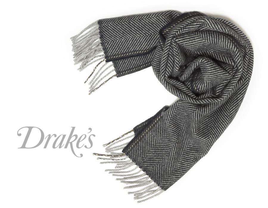 DRAKE'S / ドレイクス マフラー ( ネイビー×グレーヘリンボーン ) 18755-001