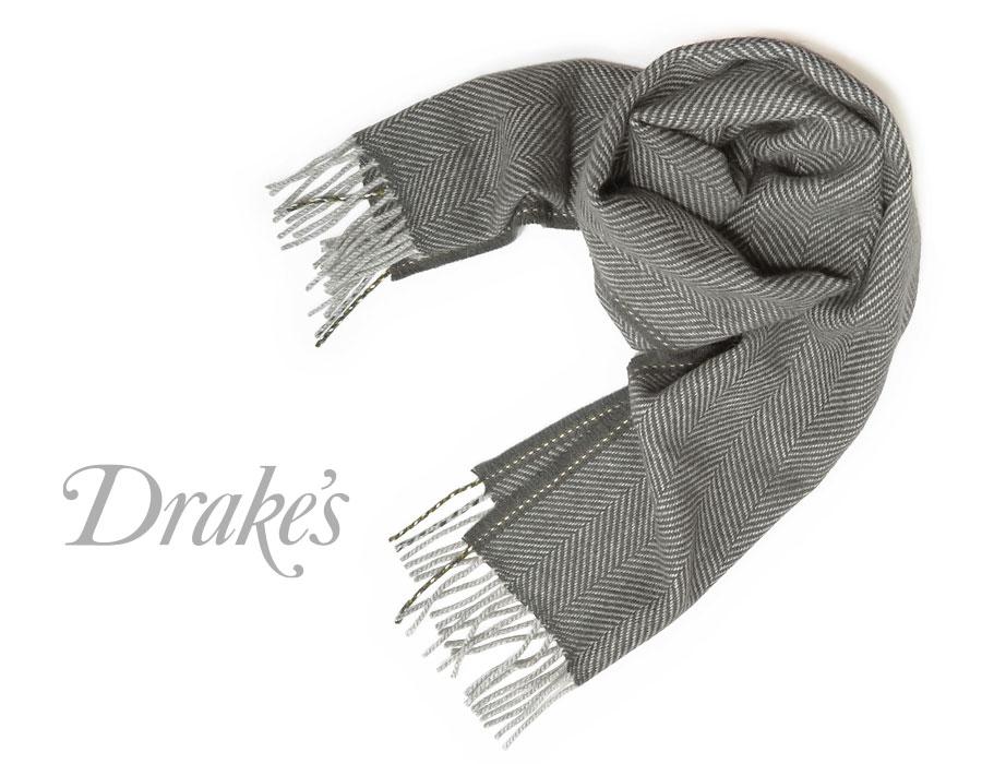 DRAKE'S DRAKE'S// ドレイクス 18755-005 マフラー ( スレートグレー系×グレーヘリンボーン ) 18755-005, リトルムーン(ヘアアクセサリー):1b50f547 --- sunward.msk.ru