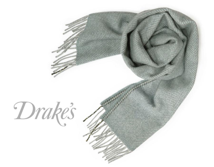 DRAKE'S / ドレイクス マフラー ( サックス系×グレーヘリンボーン ) 18755-008