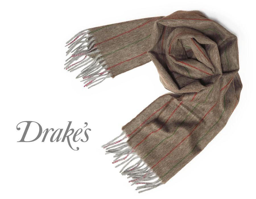 DRAKE'S / ドレイクス マフラー ( ブラウン×グリーン×レッド系ストライプ ) 18762-003