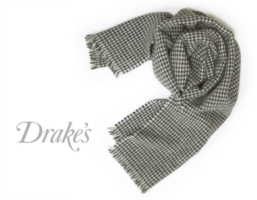 DRAKE'S / ドレイクス マフラー ( ライトグレー×ネイビー×チャコール千鳥 ) 18763-001