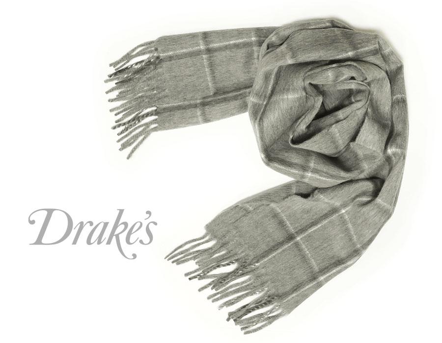 DRAKE'S / ドレイクス マフラー ( グレー×チャコールチェック ) 18764-006