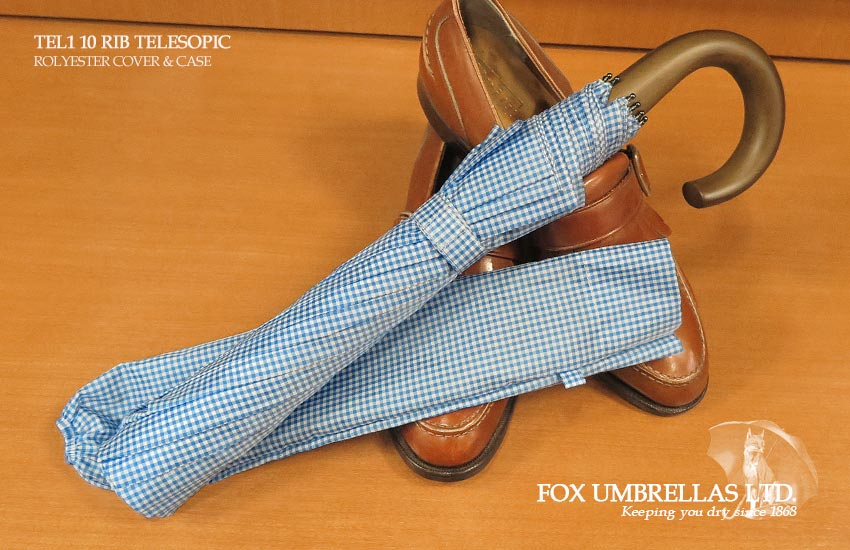 【 FOX UMBRELLAS / フォックス・アンブレラズ 】折りたたみ傘 ( メイプル / ブルーギンガムチェック )FX-TL1-MC-0007