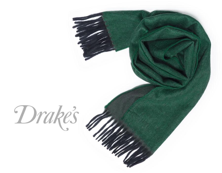 DRAKE'S / ドレイクス マフラー ( グリーン×ネイビー ) 19751-002