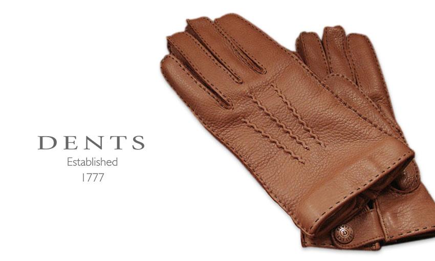 [デンツ社公認販売店]DENTS 手袋 / デンツ手袋 DEERSKIN / ディアスキン ( 鹿革 ) [ TOBACCO / タバコ ] 15-1525T