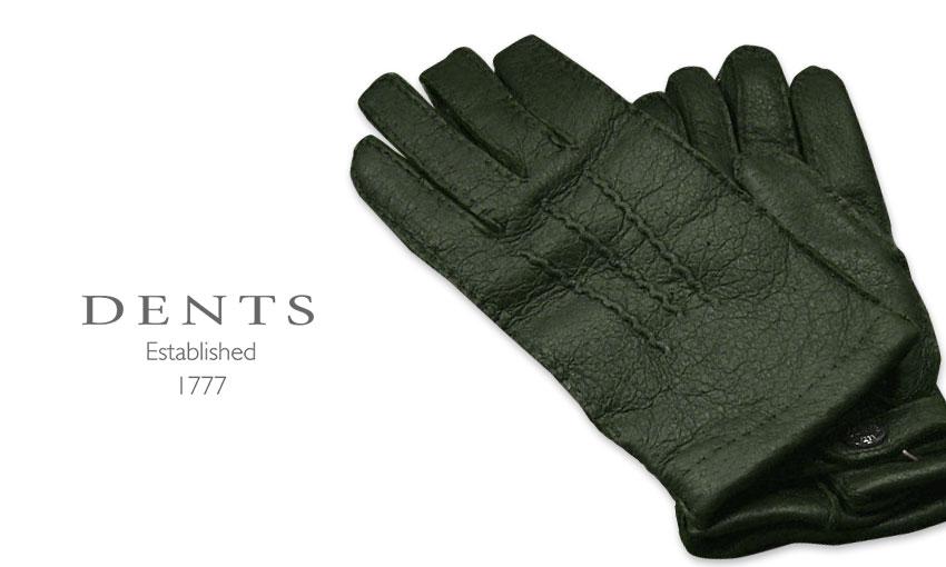 [デンツ社公認販売店]DENTS 手袋 / デンツ手袋 PECCARY / ペッカリー ( 猪豚革 ) [ HUNTER / グリーン ] 15-1564H