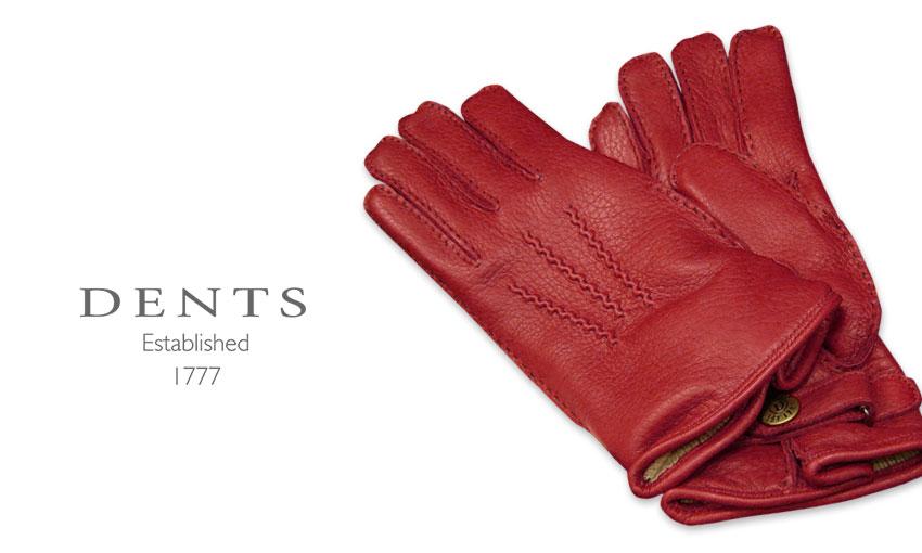 [デンツ社公認販売店]DENTS 手袋 / デンツ手袋 ( 婦人物 ) DEERSKIN / ディアスキン ( 鹿革 ) [ BERRY / レッド ] 17-1117BERRY