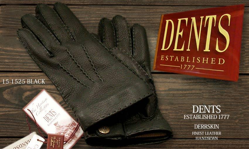 DENTS手袋 / デンツ手袋 DEERSKIN / ディアスキン ( 鹿革 ) [ BLACK / ブラック ] 15-1525B