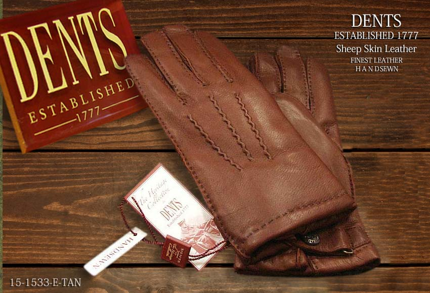 DENTS手袋 / デンツ手袋 SHEEPSKIN / シープスキン ( 羊革 ) [ ダークブラウン / E-TAN ] 15-1533E-TAN