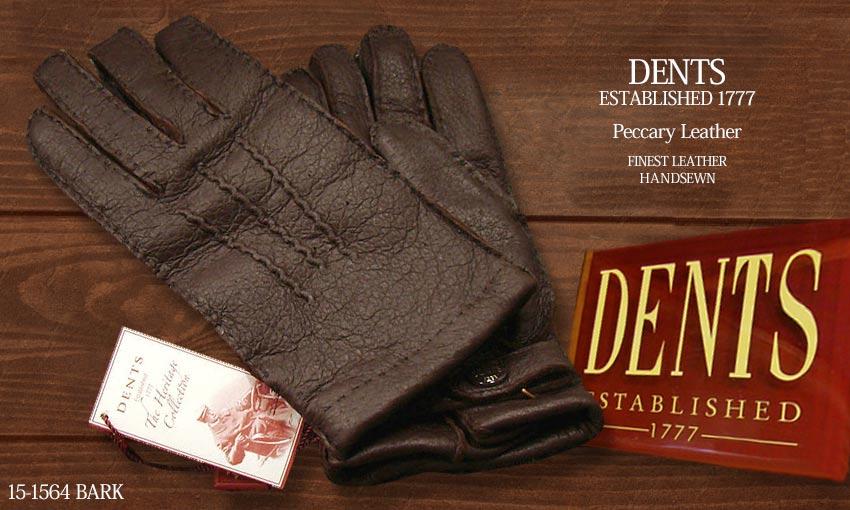 DENTS手袋 / デンツ手袋 PECCARY / ペッカリー ( 猪豚革 ) [ BARK / ダークブラウン ] 15-1564BA