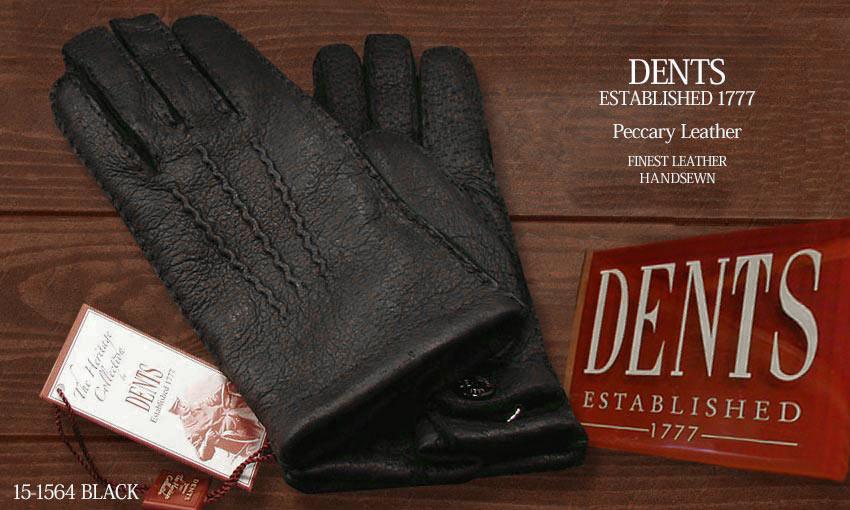 DENTS手袋 / デンツ手袋 PECCARY / ペッカリー ( 猪豚革 ) [ BLACK / ブラック ] 15-1564B
