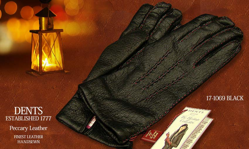 DENTS手袋 / デンツ手袋 ( 婦人物 ) PECCARY / ペッカリー ( 猪豚革 ) [ ブラック / BLACK ] 17-1069B