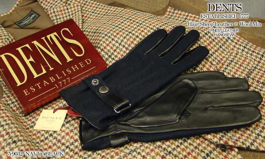 [デンツ社公認販売店]DENTS 手袋 / デンツ手袋 HAIR SHEEP × WOOL MIX [ ネイビー / ブラック ] 5-9032 NAVY