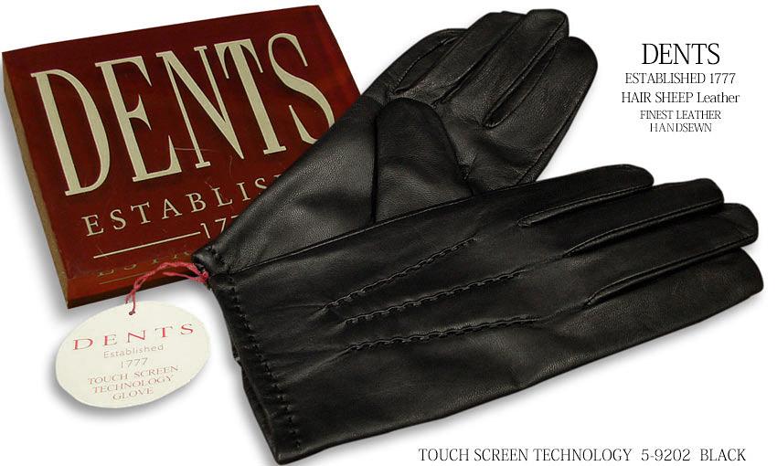 DENTS手袋 / デンツ手袋 / スマホ対応 TOUCH SCREEN TECHNOLOGY HAIR SHEEP / ヘアシープ ( 羊革 ) [ ブラック ] 5-9202 BLACK