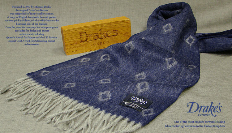 DRAKE'S / ドレイクス マフラー ( ネイビー×グレーダイヤ柄小紋 ) 14051.002