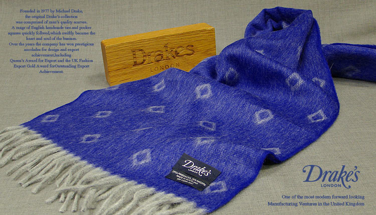 DRAKE'S / ドレイクス マフラー ( ロイヤルブルー×グレーダイヤ柄小紋 ) 14051.003