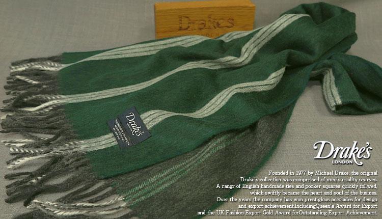 DRAKE'S / ドレイクス マフラー ( グリーン系ストライプ ) 15101.006