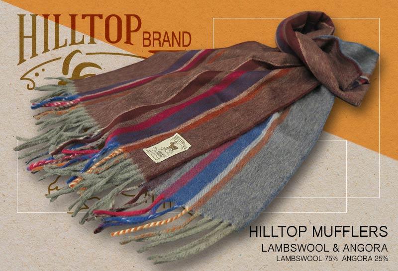 HILLTOP / ヒルトップ マフラー LAMBSWOOL & ANGORA MUFFLERS FAH 01925 A5 MORELLO DENIM ( ワイン×ブルー切替ストライプ )