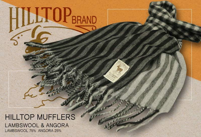 HILLTOP / ヒルトップ マフラー LAMBSWOOL & ANGORA MUFFLERS FAH 01926 A1 BLACK SILVER ( ブラック系チェック / ストライプ )