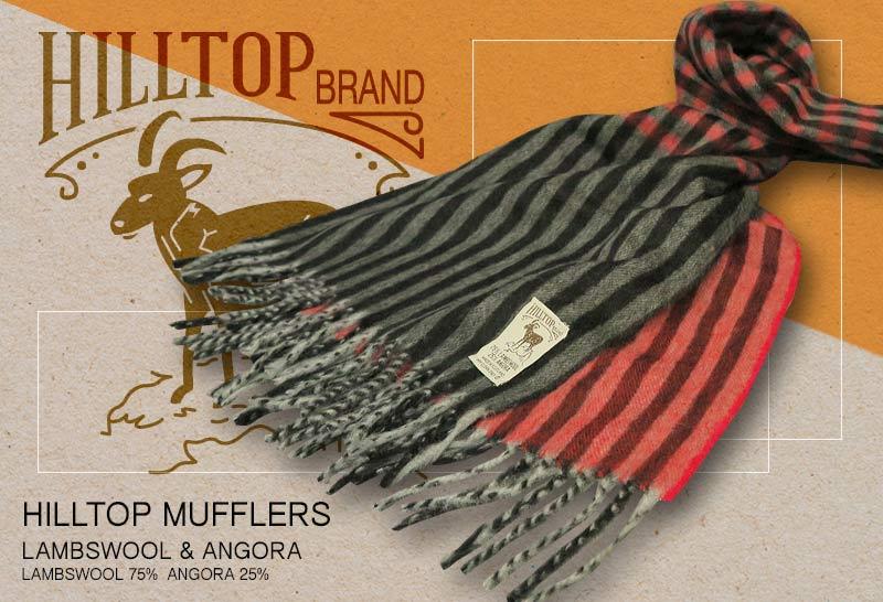 HILLTOP / ヒルトップ マフラー LAMBSWOOL & ANGORA MUFFLERS FAH 01926 A3 CHARCOAL RED ( レッド系チェック / ストライプ )