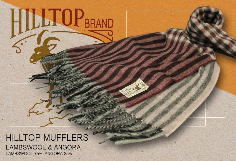 HILLTOP / ヒルトップ マフラー LAMBSWOOL & ANGORA MUFFLERS FAH 01926 A6 MORELLO BLUSH ( ボルドー系チェック / ストライプ )