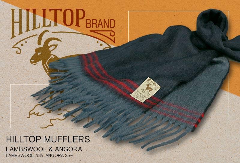 HILLTOP / ヒルトップ マフラー LAMBSWOOL & ANGORA MUFFLERS FAH 01928 A1 NAVY RED ( ネイビー系ボーダー )