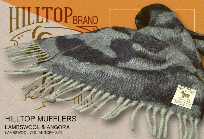 HILLTOP / ヒルトップ マフラー LAMBSWOOL & ANGORA MUFFLERS FAH 01341 A6 DARK NAVY ( 濃紺カモフラージュ )