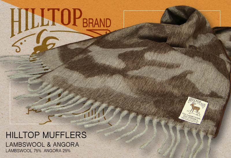 HILLTOP / ヒルトップ マフラー LAMBSWOOL & ANGORA MUFFLERS FAH 01341 A7 BROWN ( ブラウン系カモフラージュ )