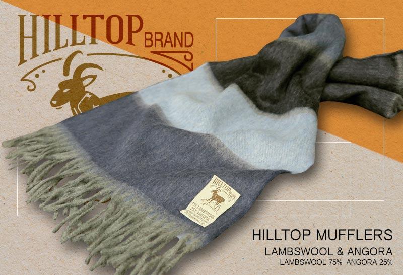 HILLTOP / ヒルトップ マフラー LAMBSWOOL & ANGORA MUFFLERS FAH 01618 A3 NAVY BLUE ( ブルー系ワイドボーダー )