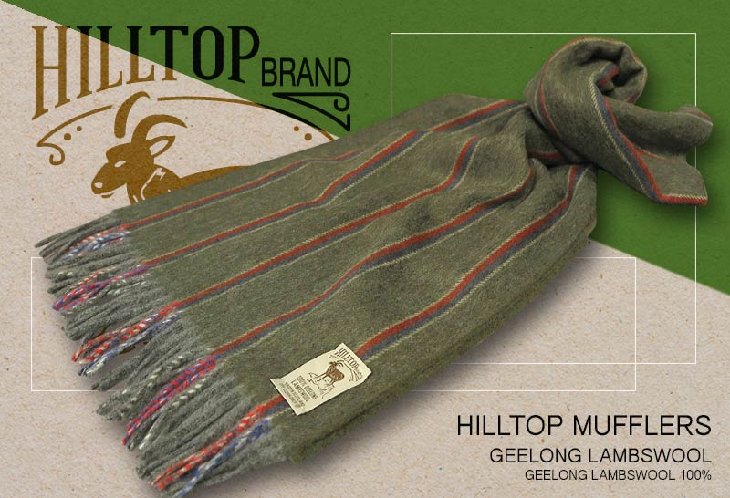 HILLTOP / ヒルトップ マフラー LAMBSWOOL MUFFLERS FAH 01930 A5 SAGE ( セージグリーンストライプ )