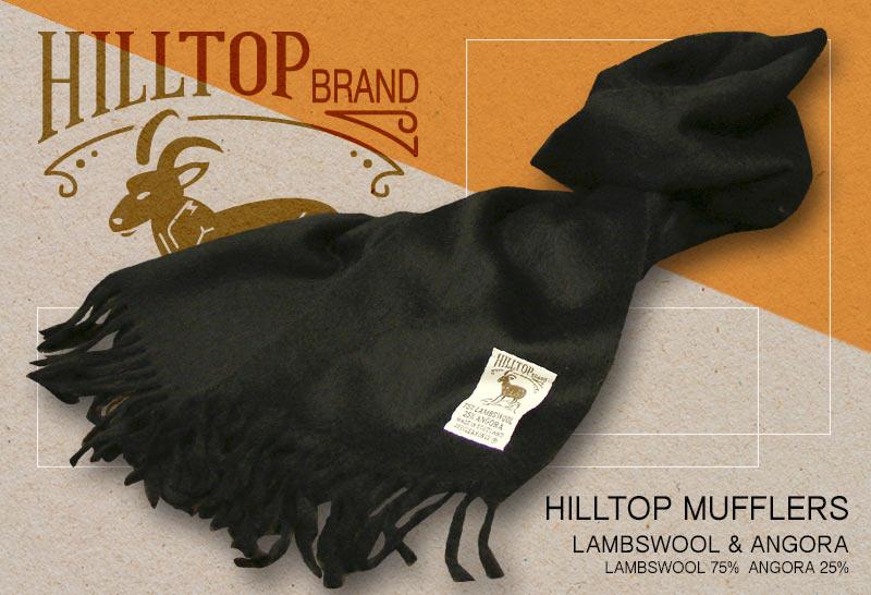 HILLTOP / ヒルトップ マフラー LAMBSWOOL & ANGORA MUFFLERS ( BLACK / ブラック無地 )