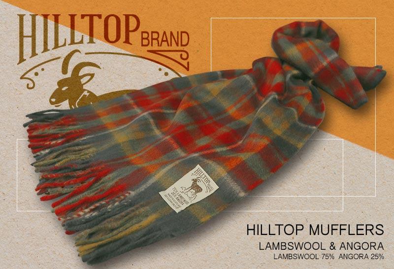 HILLTOP / ヒルトップ マフラー LAMBSWOOL & ANGORA MUFFLERS CARRON ( レッド系タータンチェック )