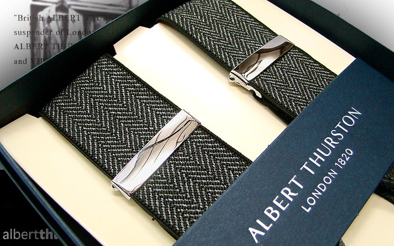 【 ALBERT THURSTON 】 アルバートサーストン・サスペンダー ( グレーヘリンボーン柄 ) ALG-11 【あす楽対応】 ( アルバート・サーストン/メンズ )