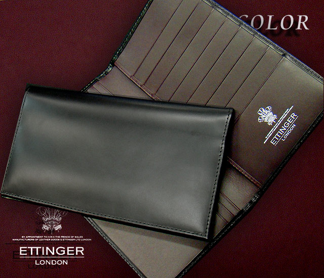 ○ETTINGER / エッティンガー ■VIOLA COLOR Collection ●ロングウォレット 806JR BLACK×INSIDE:VIOLA ( 別注/長財布/レザー/札入れ/カード入れ/メンズ ) 【あす楽対応】