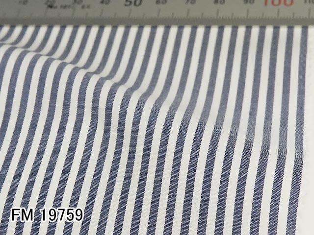 オリジナルオーダーシャツ●FM19759 白×ネイビー系ストライプ ブロードクロス Wrinkle Free / リンクルフリー 100番双糸 100%cotton