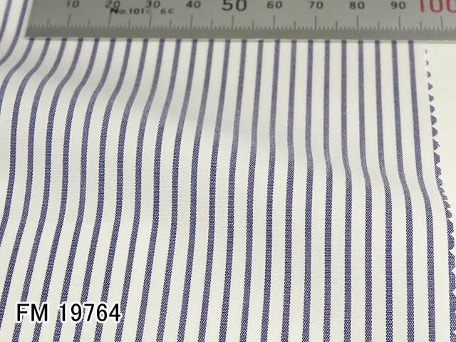 オリジナルオーダーシャツ●FM19764 白×ネイビーのストライプ柄 ブロードクロス Wrinkle Free / リンクルフリー 100番双糸 100%cotton