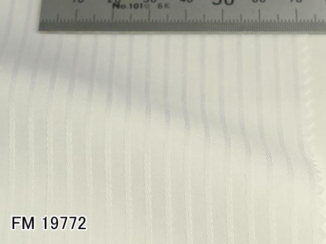 オリジナルオーダーシャツ●FM19772白のシャドウストライプ柄 Wrinkle Free / リンクルフリー 100番双糸 100%cotton