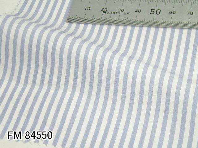 オリジナルオーダーシャツ●FM84550白×サックスブルーのストライプ 100番手双糸 100%cotton