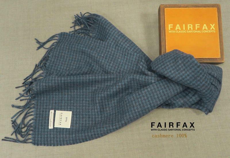 FAIRFAX / フェアファクス カシミヤマフラー fms-70 ( ブルー系千鳥柄 ) 【あす楽対応】
