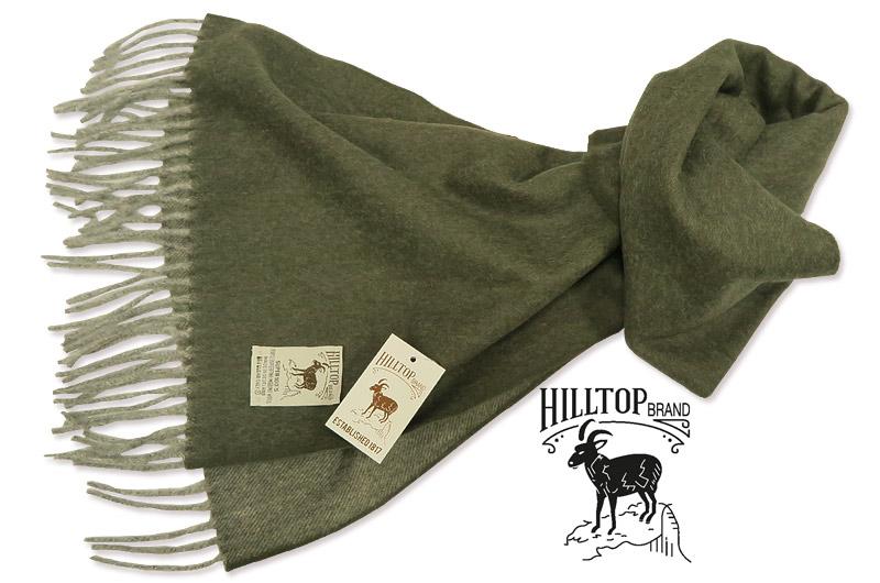HILLTOP / ヒルトップ マフラー Super fine Merino wool MUFFLERS ( オリーブ無地 )AF1077TF-OLIVE