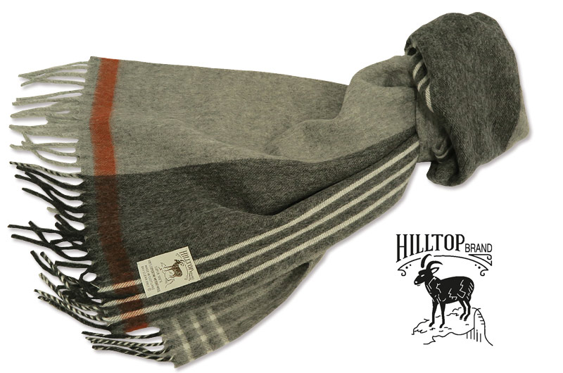 HILLTOP / ヒルトップ マフラー Super fine Merino wool MUFFLERS ( グレー地ストライプ )AF1080TF-GREY