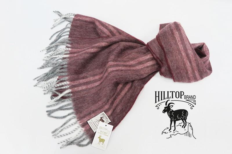 HILLTOP / ヒルトップ マフラー Lambswool×Angora MUFFLERS ( ワイン地に薄いワイン系ストライプ )FAH03127A3Wine